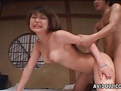 Rock hard Chinese doggystyle tearing up with creampie